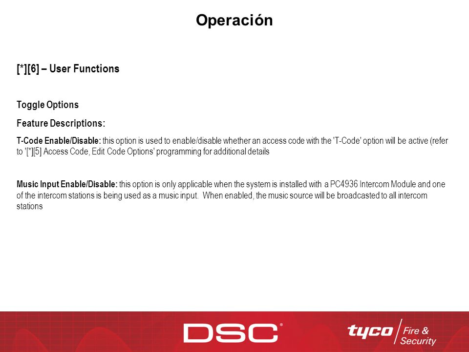 Operación [*][6] – User Functions Toggle Options Feature Descriptions: